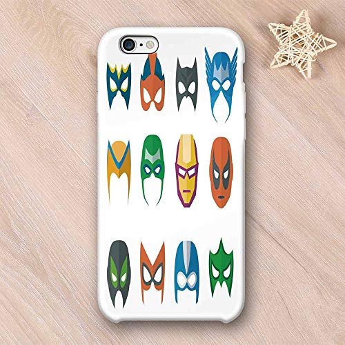 Superhero Stylish Compatible with iPhone Case,Hero Mask Female Male Costume Power Justice People Fashion Icons Kids Display Compatible with iPhone X,iPhone 6/6s -