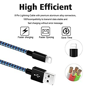 iPhone Charger [MFi Certified] 3Pack 10FT Charging Cable Nylon Braided USB Charger Cord Compatible with iPhone 11/XS/XR/X/8/8Plus/7/7Plus/6/6S Plus/SE/5/iPad,Blueblack (Color: BlueBlack, Tamaño: 10 feet)