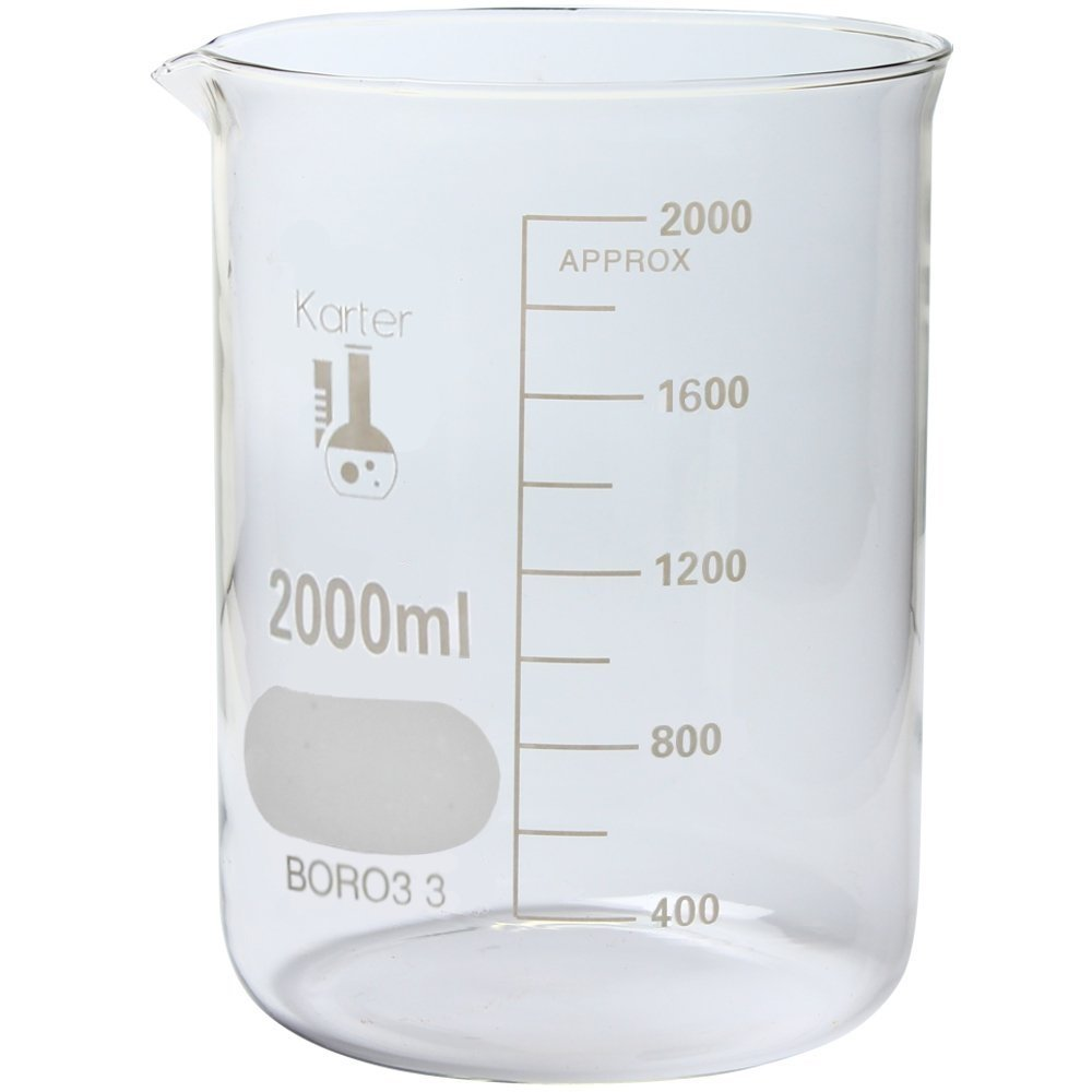 2000ml Beaker, Low Form Griffin, Borosilicate 3.3 Glass, Graduated, Karter Scientific 213D20
