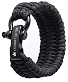 The Friendly Swede Trilobite Extra Beefy 550 lb Paracord Survival Bracelet with Stainless Steel Black Bow Shackle, Available in 3 Adjustable Sizes (Black, fits 7'-8' Wrists)