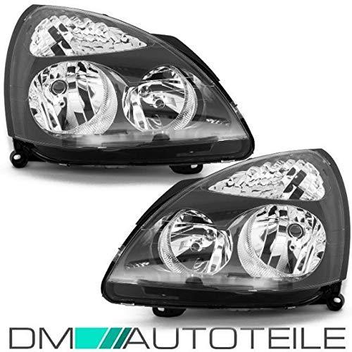 Links//Rechts DM Autoteile Clio II 01-05 Scheinwerfer Set Klarglas schwarz f/ür LWR