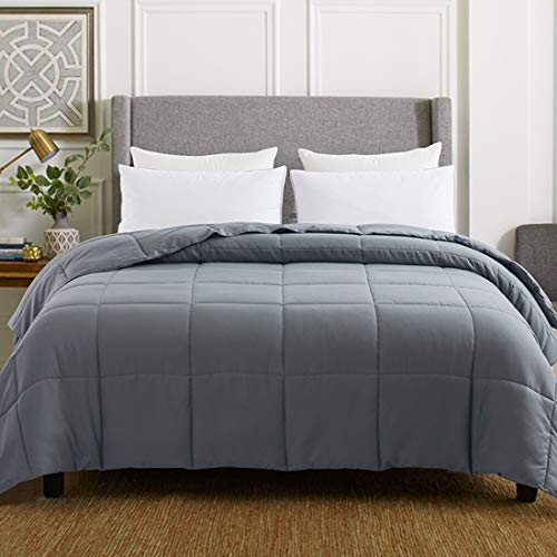 WhatsBedding Gray Down Alternative Comforter Double Sided/Lighweight/Box Stitched - All Season Duvet Insert-Stand Alone Comforter - Queen Size(88×88 Inch)