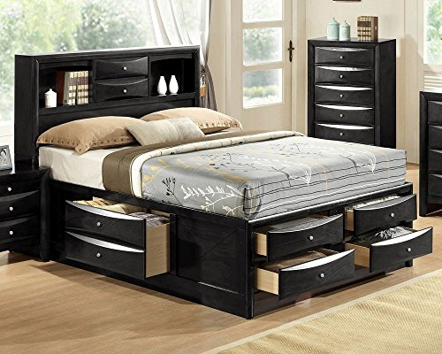 Emily Black Wood Queen Captains Bed by Crown Mark