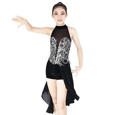 1dacc60b7277 MiDee Contemporary Costume Morden Lyrical Dance Dress Mock Neck Deep V 3/4  Skirt ( Sc 1 St Amazon.com