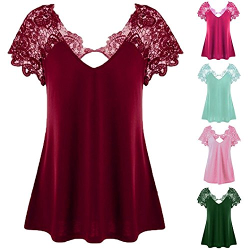 Maat mouw Top korte T 2 Cutwork Mode Size V Roze Ohq Dames Tops Elegant shirts Kant Crop Plus shirt V Plus hals hals T 1qwxfxtX