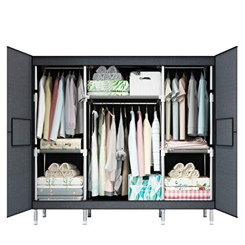 (ALWUD Portable Wardrobe Clothes Storage Organizer, Non-Woven Fabric Closet Shelves with Hanging Rod for Extra Strong and Durable,Gray_66x68x17.7 inch)