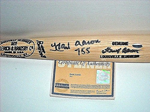 Hank Aaron Signed Autograph Game Model Bat With 755 Inscription HB Louisville Steiner MLB from Sports Collectibles