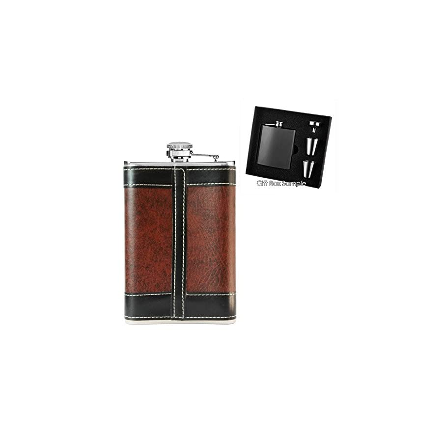 New Scale 8oz Stainless Steel Primo 18/8 Brown/Black PU Leather Premium/Heavy Duty Hip Flask Gift Set Includes Funnel 2 Cups and Gift Box