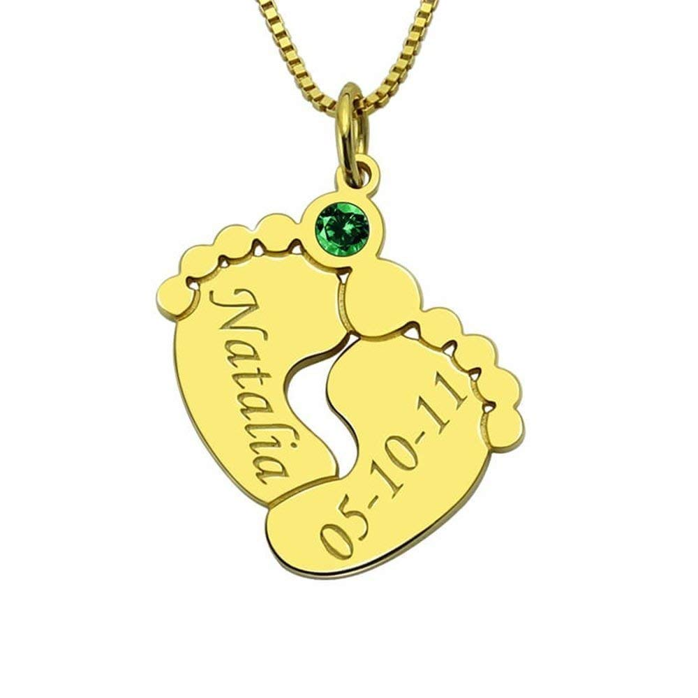 VERSUSWOLF Personalized Custom Name Baby Feet Necklace Pendant with Birthstone 925 Sterling Silver Pendant