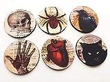 Halloween Home Decor Coasters 3.5 inch round neoprene skull anatomical heart black cat raven goth