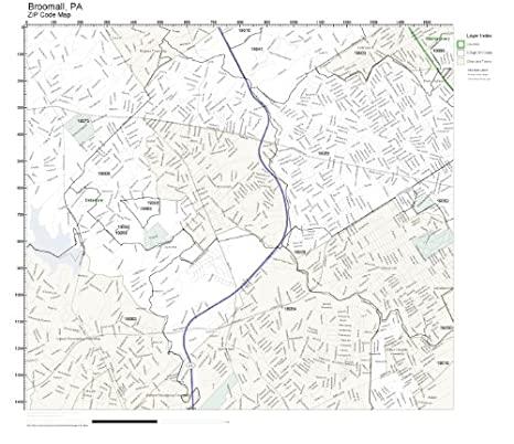 Amazoncom Zip Code Wall Map Of Broomall Pa Zip Code Map Laminated