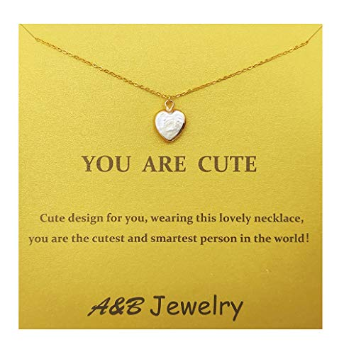 A&B Heart-Shaped Baroque Pearl Mabe Pearl Shaped Pearl Pendant Necklace with Gift Card Message Card for Lady and Girl (Color 2)