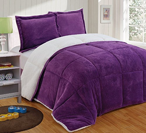 (Chezmoi Collection 3-Piece Micromink Sherpa Reversible Down Alternative Comforter Set (King, Purple))