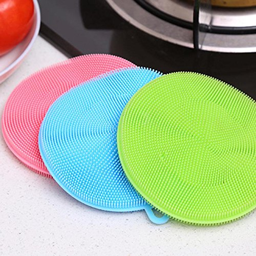 Autumn Water Fruit Vegetable Food Grade Silicone Dishwashing Sponge Brush Antibacterial Kitchen Cleaning Pad Clean Vegetable/Pan Brush Tool by Autumn Water (Image #7)