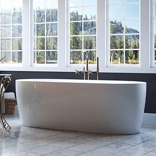 Luxury 69 Inch Modern Freestanding Tub with Sloped Oval Design and Integrated White Drain, from the Edgewater Collection