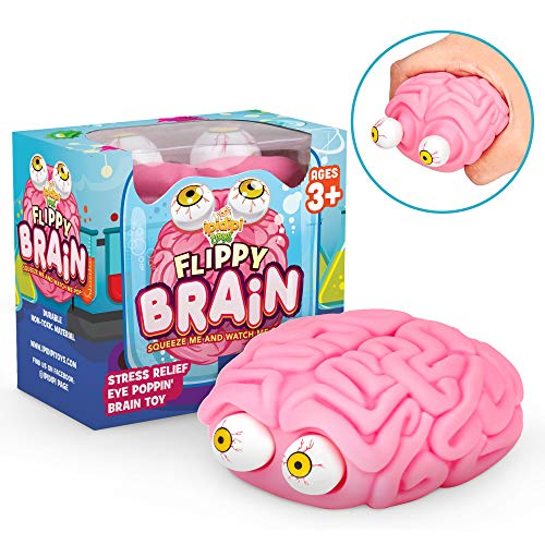 Flippy Brain Squishy Eye Poppin Large Squeeze Fidget | Stress Relief Ball | Poppin Peeper | Anxiety Reducer Sensory Play | Gift For Toddlers Boys & Girls | Suitable For Autism & ADHD | Halloween Toy -