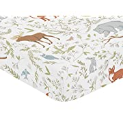 Sweet Jojo Designs Fitted Crib Sheet for Woodland Toile Baby/Toddler Girl or Boy Bedding Set Collection - Animal Print