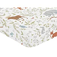 Fitted Crib Sheet for Woodland Toile Baby/Toddler Girl or Boy Bedding Set Col...