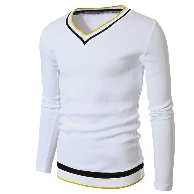 YpingLonk Camiseta Hombre Cuello Redondo Delgado Otoño e ...