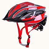 Coface Adults Road Cycling Helmet with Light,Red,Large