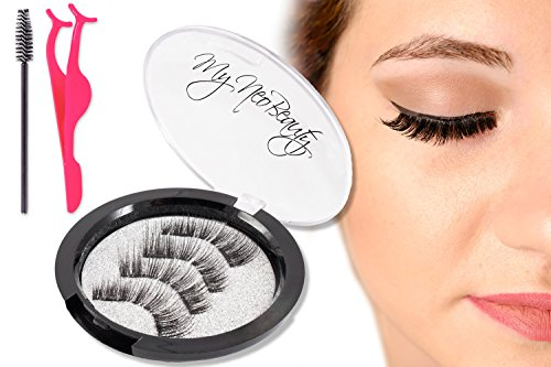 Professional Double Magnetic Eyelashes (4 Pcs) Mink Eyelash – Natural-Looking Lush Definition - Reusable, Handmade, Ultra-Thin Magnet, False Lashes, Applicator, Brush by MyNeoBeauty, Real Pictures