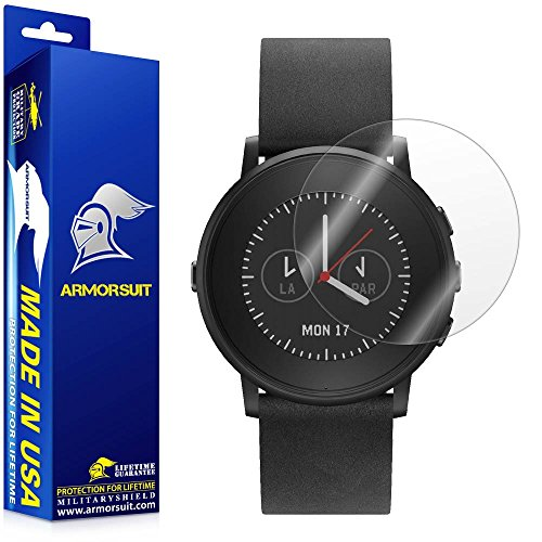 ArmorSuit Pebble Time Round 14mm/20mm Screen Protector (2 Pack) Full Coverage MilitaryShield Screen Protector for Pebble Time Round 14mm/20mm -HD Clear Anti-Bubble ()