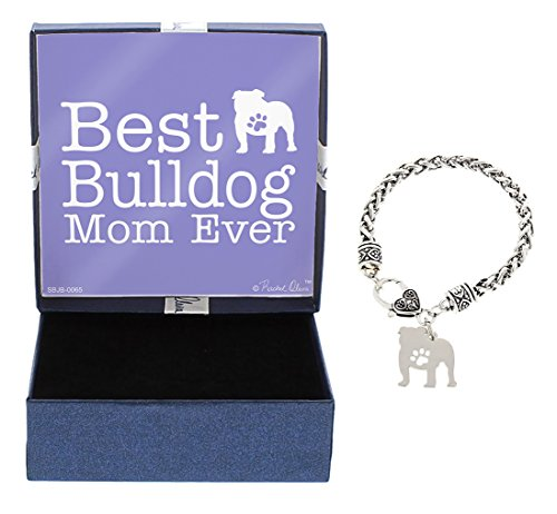 Bulldog Birthday (Best Bulldog Mom Ever Bulldog Bracelet Gift Silhouette Charm Bracelet Silver-Tone Bracelet Gift Bulldog Owner Jewelry Box Idea A Rescue Dog Mom)