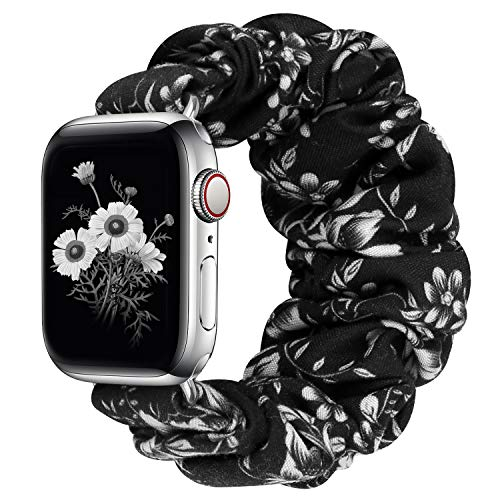 Greatfine Compatible for Apple Watch Band Scrunchie 38mm 40mm 42mm 44mm,Soft Elastic Strap Watch Bands,with iWatch Series 6 SE 5 4 3 2 1,S L Printing Replacement Wristband for Women Men