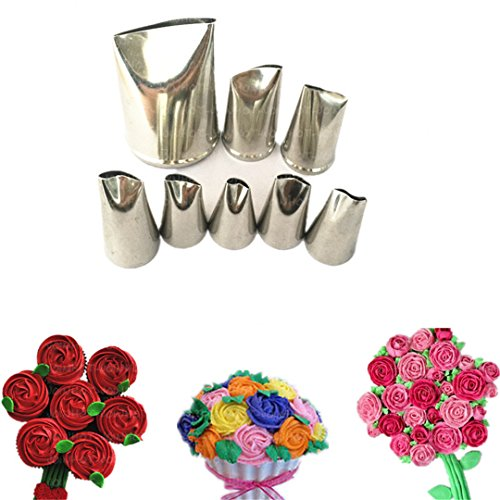 FantasyDay 8-piece Stainless Steel Rose Flower Piping Tips Piping Nozzles Cake Decorating Supplies Cookies Cupcake Icing Decorating Supplies Decorating Kits Frosting Icing Tips Baking Set Tools