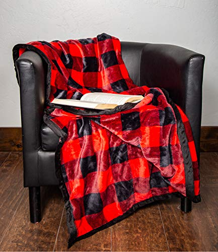 1i4 Group Outrageously Soft 50-by-60-inch Reversible Velvet Ultra Plush Throw, Buffalo Plaid (Double ()