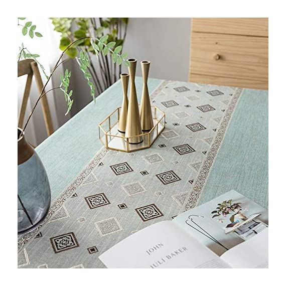 Deep Dream Tablecloth, Embroidered Table Cloth Cotton Linen Wrinkle Free Anti-Fading Tablecloths Washable Dust-Proof Table Cover for Kitchen Dinning Party, 55 x 55 Inch - Blue - 【NON-FADING】: Deep Dream cotton linen tablecloth is dyed with high-quality dyes, which has good dye fixation and is not easy to fade 【ANTI-WRINKLE & ANTI-SHRINK】: This table cloth is made of high quality eco-friendly heavy cotton linen, making it soft and smooth, with exquisite tassels to make your table more beautiful 【EASY TO CARE】: Our table clothes can be hand-washed or gently machine-washed, hand wash best. Tumble dry on low heat or lay flat to dry, very easy to clean, soft and comfortable, no pilling - tablecloths, kitchen-dining-room-table-linens, kitchen-dining-room - 518Cue9w8 L. SS570  -