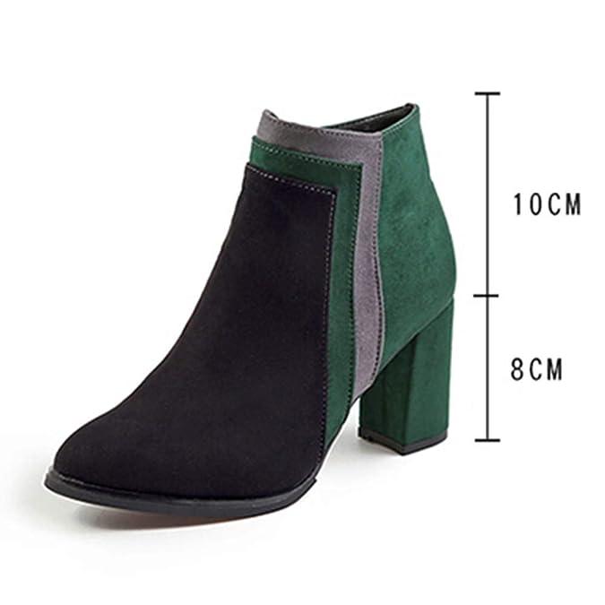 Amazon.com | HYIRI Originals Patchwork Thick High Heel Shoes,Women Flock Short Boots Zipper Round Toe Shoes | Shoes