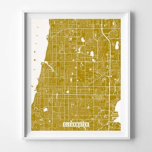 Clearwater Florida Map.Amazon Com Clearwater Florida Map Print Street Poster City Road