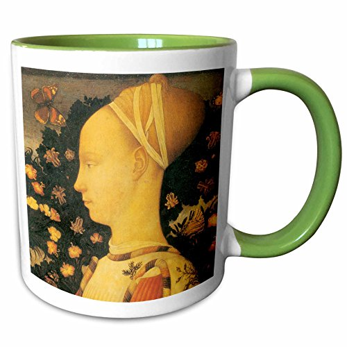 3dRose BLN Italian Renaissance Fine Art Collection - Ginepro dEste by Antonio Pisano - 15oz Two-Tone Green Mug (mug_127096_12)