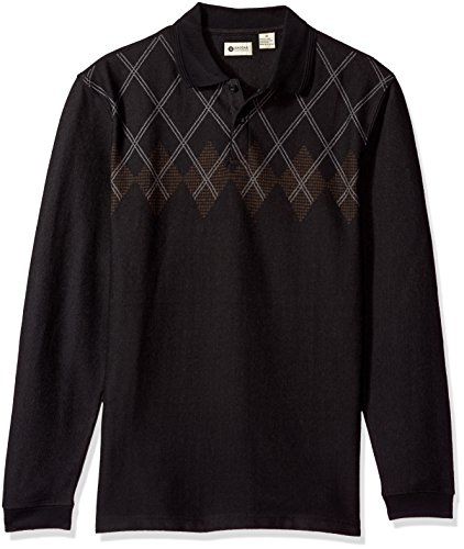 Haggar Men's Long Sleeve Double Jacquard Knit Polo, Black, M - Long Sleeve Jacquard Polo
