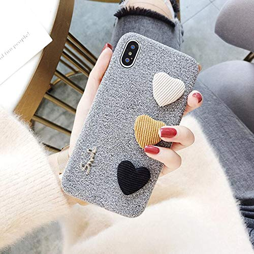 Twinlight Cute 3D Love Heart Phone Cases for iPhone X 8 8 Plus Case Fabric Soft Case for iPhone 7 X XR XS Max Back Cover (for iPhone Xs Max)