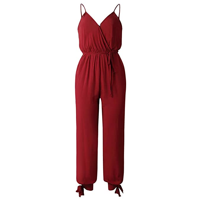 e5ff273c22 Bodbii Women Floral Pattern V-Neck Sling Playsuits Ladies Open Back  Overalls Jumpsuit Wine Red  Amazon.co.uk  Clothing