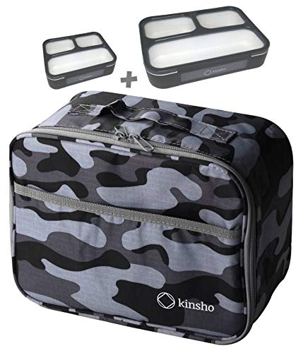 (Camo Lunch-Box with Two Bento Boxes   Camouflage Bag with Meal and Snack Containers for Boys Men Teens   Grey Black Large + MINI 2 Pack + Camo Bag)