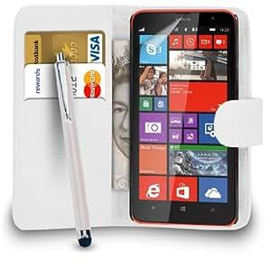 123 Online Nokia Lumia 1320 Monedero de cuero blanco del caso del tirón de la cubierta Pouch + Grandes Touch Pen Stylus + Protector de pantalla y paño de pulido