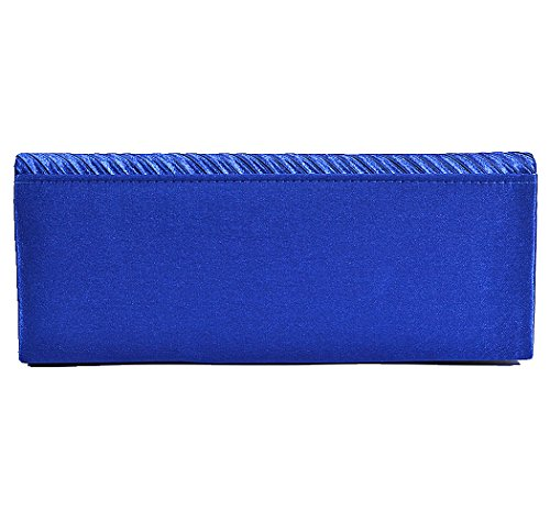 Blue Pleated Clutch With Story Bridal Rhinestones Wedding Women's Satin U Evening Purse BCqwTx