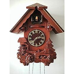 Imoerjia European Clocks Solid Wood Hand Carved Antique Creative Wall Clock Living Room Mute Time Cuckoo Clock, 18 Inch, South Korean Birdie Brown Rome Blond Wood Tray