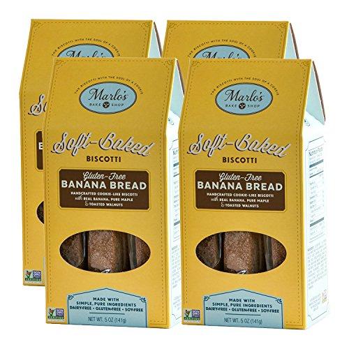 Marlo's Bakeshop GF Banana Bread Pliant-Baked Biscotti - Gourmet, Gluten Free, non-GMO, Wholesome Indulgence (4 Pack)
