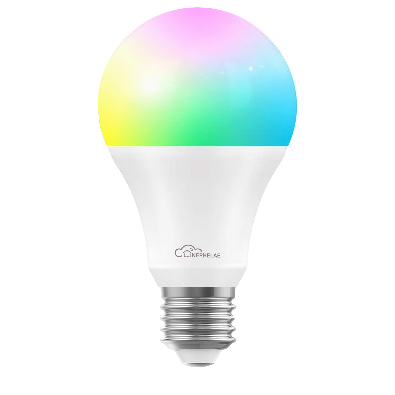 Nephelae Smart Wi-Fi LED Light Bulb - Multicolor, A19 600lm, Dimmable, Soft White, No Hub Required - Compatible with Alexa, Google Assistant and IFTTT