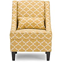 Baxton Studio Leonette Modern Fabric Armchair - Yellow Patterned Fabric