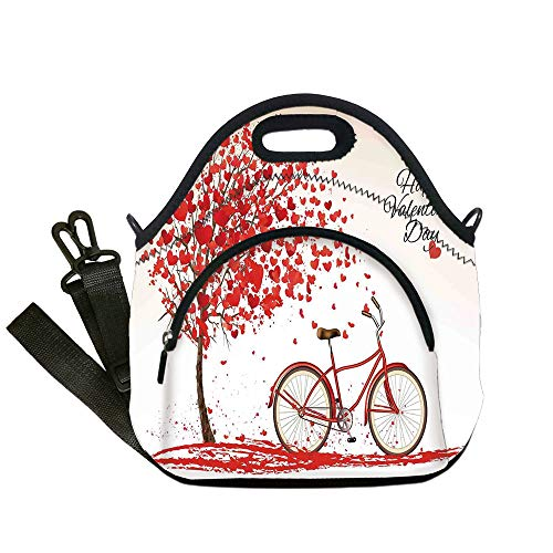 cdc1a7b4ce3f Insulated Lunch Bag,Neoprene Lunch Tote Bags,Valentines Day,Romantic Tree  Blooming Red Hearts with Bike and Petals Vintage Art,Pink Red,for Adults  and ...