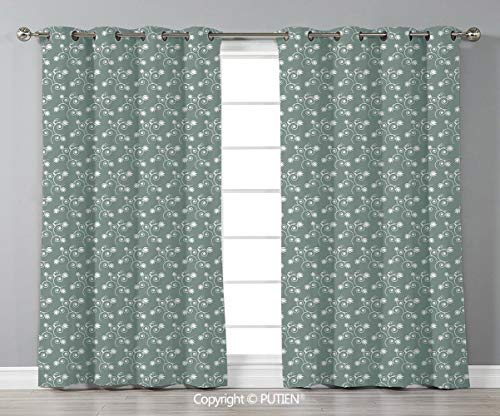 (PUTIEN Grommet Blackout Window Curtains Drapes [ Vintage Floral,Spring Meadow Themed Swirled Twigs with Tulips Buds,Light Sage Green White ] for Living Room Bedroom Dorm Room Classroom Kitchen Cafe)
