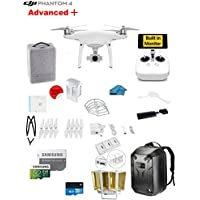DJI Phantom 4 ADVANCED Plus Quadcopter Drone with 1-inch 20MP 4K Camera KIT + SanDisk Extreme 32GB Micro SDXC Card + Card Reader 3.0 + Prop Guards + Charging Hub + Range Extender + Harness + Backpack