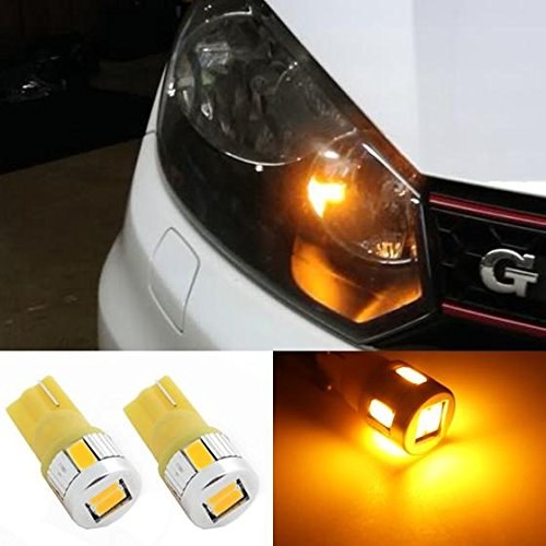 Partsam 2x T10 W5W 194 2825 6-5730-SMD Amber High Power Led Bulb Car/Truck Led Light Parking Lights Driving Stop Lamps