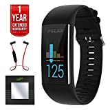 Polar A370 Fitness Tracker w/ 24/7 Wrist Based HR, Black (90064907) + Bally Fitness Bluetooth Digital Body Mass Bathroom Scale (Black) + Fusion Bluetooth Headphones + 1 Year Extended Warranty