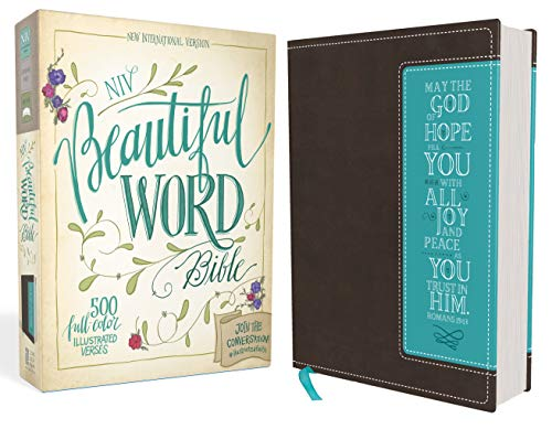 NIV, Beautiful Word Bible, Leathersoft, Brown/Blue: 500 Full-Color Illustrated Verses